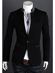 De Wshgyy Hommes Un boutons de couleur contrastante Loisirs pied de col Manteau