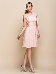 A-line V-neck Sleeveless Knee-length Chiffon Bridesmaid Dress 929964