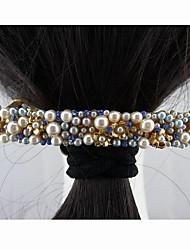 Moda Hermosa perla de la aleación con el cristal azul Hojas de las horquillas de la Mujer
