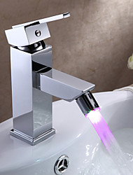 Bathroom Sink Faucets Contemporary LED Brass Chrome