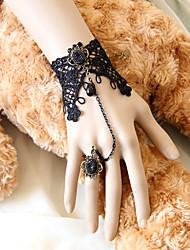 Rainha escura Handmade Black Lace Gothic Lolita Pulseira com Deulxe Anel