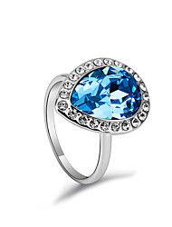 Ouxi Drop Pattern Crystal Ring(Blue)