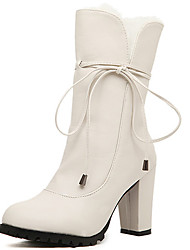 Kimberly Fur Decor Tie Chunky Heel Ankle Boots(White)