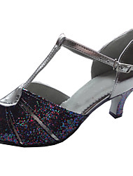 Customizable Women's Dance Shoes Latin/Ballroom Leather/Sparkling Glitter Customized Heel Silver