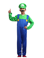 Super Mario Green Polyester Kids' Costume with Beard (for Height 130-140cm)