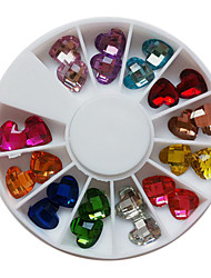24PCS 12-Color Glitter Loving Heart Shaped Rhinestones Nail Art Decorations