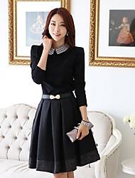 Women'S Stylish Pan Collar Pleats Dress with Belt