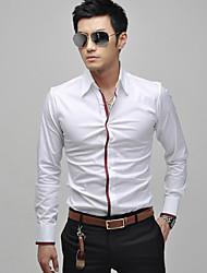 KICAI Men's Lapel Long Sleeve Shirt(White)