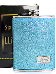 Personalized Father's Day Gift Blue Splash 8oz PU Leather Flask