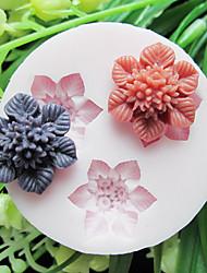 Drei Handy-Blumen-Silikon-Form-Fondant-Zucker-Formen Bastelwerkzeuge Resin Blumen Mould Formen für Kuchen