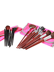 MEGAGA Rose Red Case 2in1 Cosmetic Brush Set