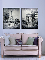 Stretched Canvas Print Art Landscape Scene of Paris Set of 2