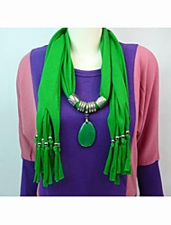 Polyester Cotton Green Stone Pendant Scarf  Necklace
