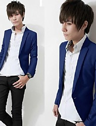 Men's Casual/Daily Work Blazer,Solid Long Sleeve Cotton Polyester
