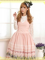 Women's Lace/Print Pink Dress , Cute/Lace/Vintage Deep V Sleeveless Pleated/Lace