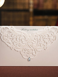 Floral Cut-out Wedding Invitation With Rhinestone -Set Of 50/20 (More Colors)
