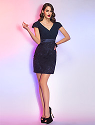 TS Couture® Cocktail Party / Holiday Dress - Dark Navy Plus Sizes / Petite Sheath/Column V-neck Short/Mini Chiffon / Lace