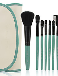 Make-up For You® 7pcs Makeup Brushes set  Limits bacteria/Portable Coral Green Blush/Eyeshadow Brush Makeup Tool Cosmetic Brush Set+ Pouch Bag Case