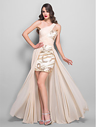 TS Couture Formal Evening / Prom / Military Ball Dress - Champagne Plus Sizes / Petite A-line One Shoulder Floor-lengthChiffon / Stretch Satin /