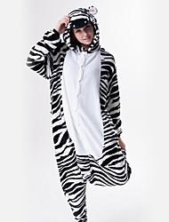 Kigurumi Pyjamas Zebra Gymnastikanzug/Einteiler Fest/Feiertage Tiernachtwäsche Halloween Weiß / Schwarz Patchwork Flanell Kigurumi Für