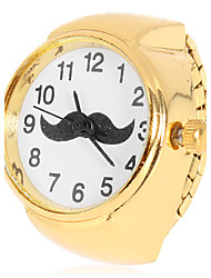 Women's Mustache Pattern Gold Alloy Quartz Analog Ring Watch Cool Watches Unique Watches