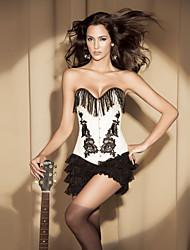 fermeture Busk coton avant et lacets corset shapewear avec des glands et applique lingerie sexy shaper