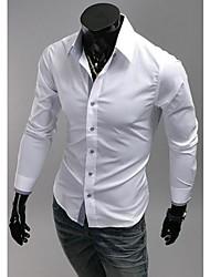 Hombres Collar rejilla fina de color sólido camiseta