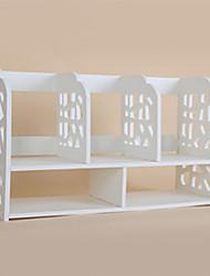 Modern 5 Girds White Wooden Desktop Shelf