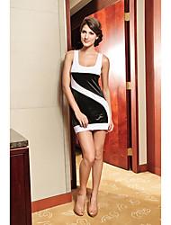 Mulheres Contrato Cor emenda Mini Vestido
