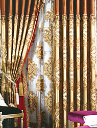 Two Panels Curtain European Neoclassical Bedroom Linen / Cotton Blend Material Curtains Drapes Home Decoration For Window