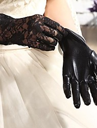 Elbow Length Fingertips Glove Spandex / Paintcoat Bridal Gloves Black