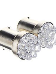 T25 1156 BA15S 0.3W 9-LED 20LM 6000K fraîche Ampoule LED lumière blanche pour la voiture (12V, 2 pcs)