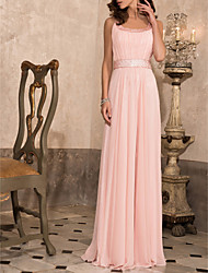 Prom/Military Ball/Formal Evening Dress - Blushing Pink Sheath/Column Scoop Floor-length Chiffon