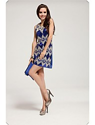 Women's Party Geometric Shift Dress , Round Neck Mini / Above Knee Cotton / Chiffon