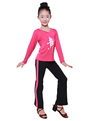 Dancewear Thicken Lycra Pattern V Neck Ballroom Dance Top For Kids(More Colors)