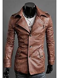 Gli Uomo nuovo stile grande risvolto monopetto Qualità Lavato uomini del cuoio PU Slim Fit cappotto lungo in pelle