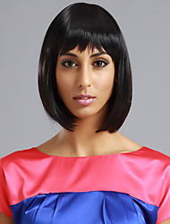 Full Bangs Short Straight Bob Hair Wig(Jet Black)