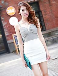 Hanguoyi Женская Bodycon Контрастность Цвет V шеи платье