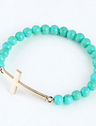 Fashion Cross Green Bead Strand Bracelet(Random Color)