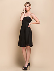 Knee-length Chiffon Bridesmaid Dress - Black A-line Strapless / Sweetheart