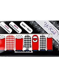 14PCS plein pointe Red, White & Black Nail Art Stickers muraux environnement enceinte