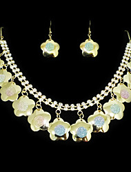 Fashion Gold Alloy With Rhinestone (Earrings&Necklaces) Gemstone Jewelry Sets