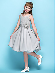 Knee-length Chiffon Junior Bridesmaid Dress - Silver A-line Straps