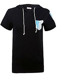Inspiriert von Attack on Titan Eren Jager Anime Cosplay Kostüme Cosplay-T-Shirt Druck Schwarz Kurze Ärmel Mantel