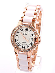Xin Ye Diamante Right Bulge Roman Number Analog Ceramic Bracelet Watch