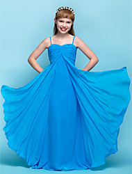 Lanting Bride® Floor-length Chiffon Junior Bridesmaid Dress Sheath / Column Spaghetti Straps Empire with Ruching
