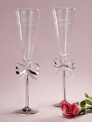 Personalized Trumpet Toasting Flutes With Bow Design
