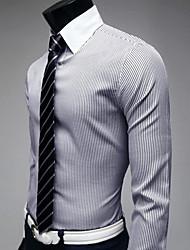 Bleu élégant shirt à rayures Loisirs manches longues A & W Hommes