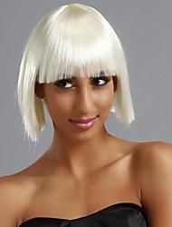 Full Bangs Short Straight Bob Hair Wig(White)