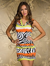 Women's Animal Blue/Orange/Pink Dress , Print Cowl Sleeveless